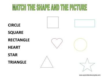 ficha aprender a leer las formas geometicas ingles