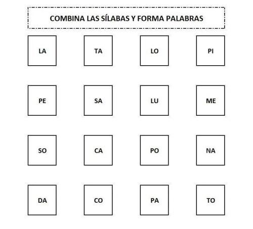 COMBINA SÍLABAS PARA APRENDER A LEER