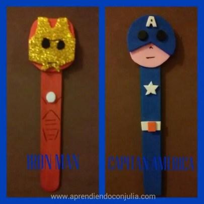 marionetas DIY con palitos de helado y goma eva. Capitán Amércia / Iron Man