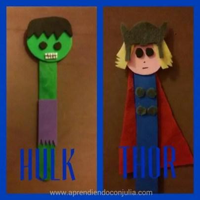 marionetas DIY con palitos de helado y goma eva. Hulk / Thor