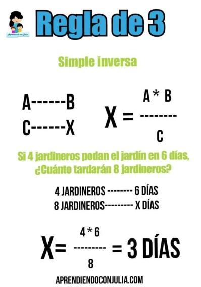 regla de 3 simple inversa
