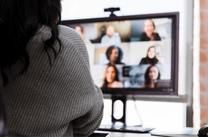 Woman watching LinkedIn Webinar
