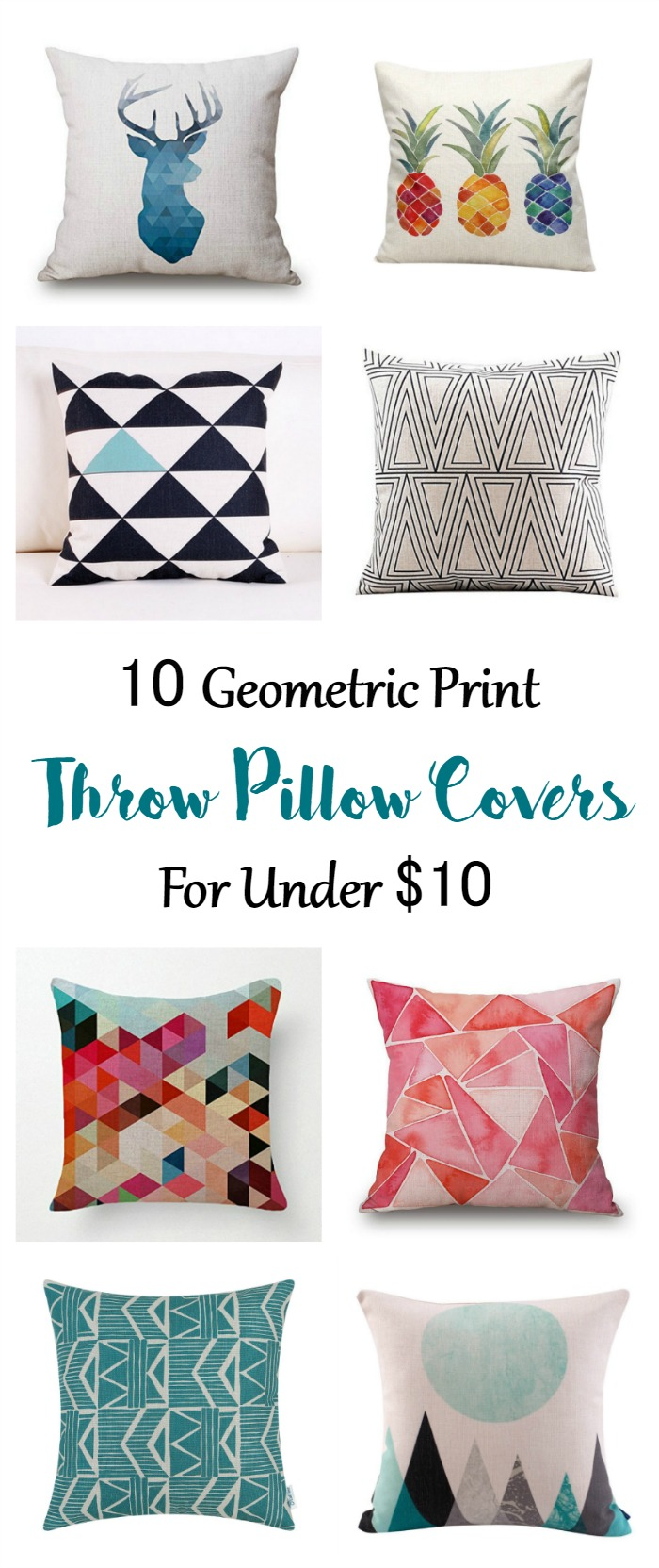 Geometric print pillow covers for under $10.
