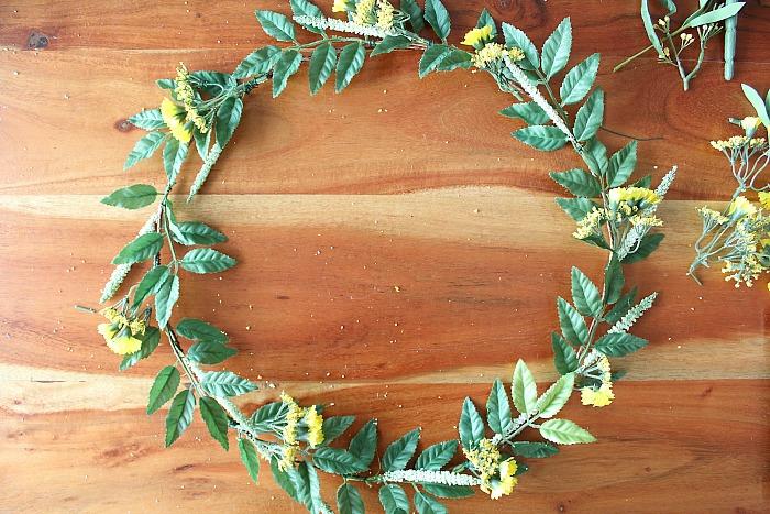 DIY (faux) Wildflower Wreath - yellow flowers added