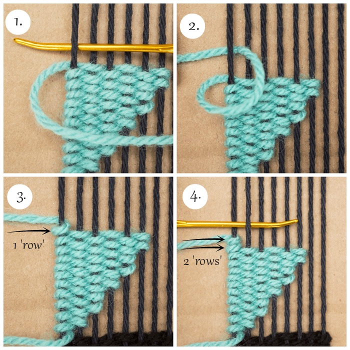 Use 1 warp strand to create 2 'rows' of weaving.