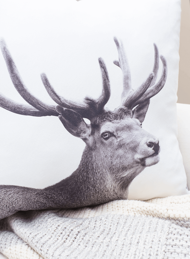 Caribou pillow to snuggle up in.