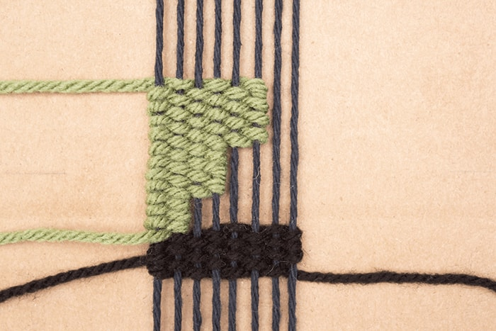 Creating squared edges is easy in a woven bookmark design.
