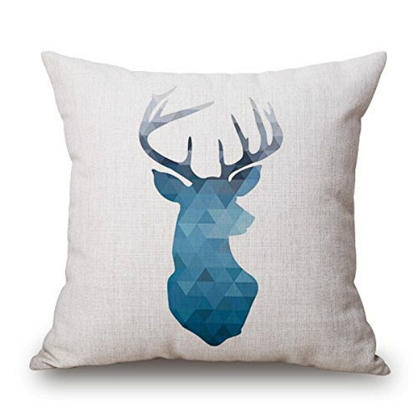 Blue deer head geometric pillow cover // 10 geometric pillow covers under $10.