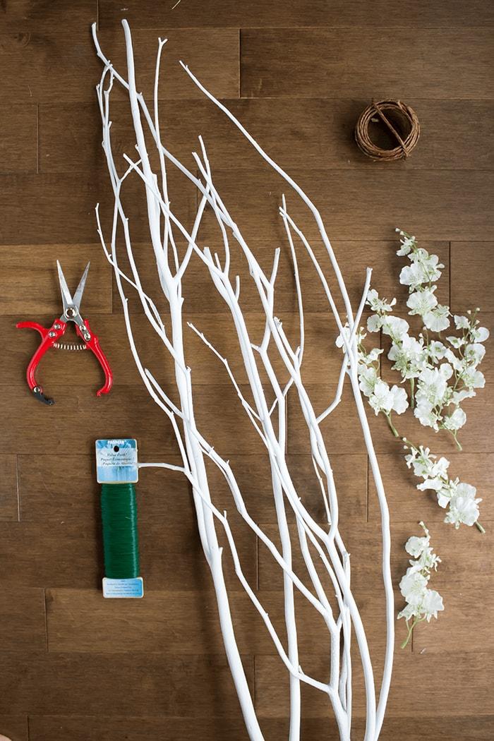 Materials For DIY Scandi-Inspired Blossom Branch