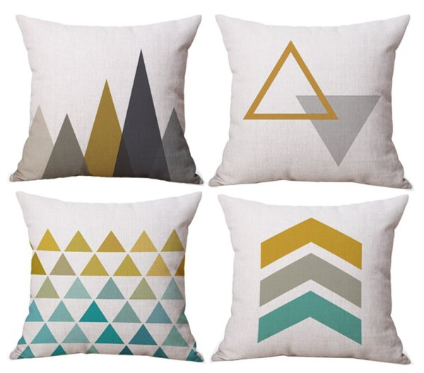 Geometric Pillow Cover Set of 4 // 10 Geometric Print Pillow Covers For Under $10.