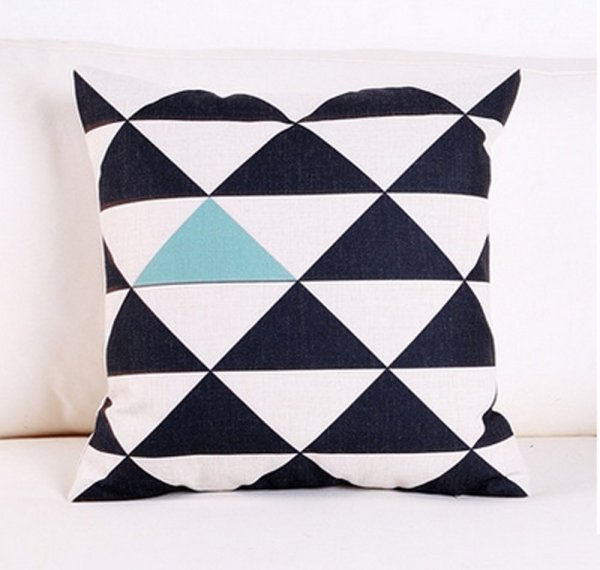 Black, white, and blue geometric patterned pillow cover // 10 pillow covers under $10.