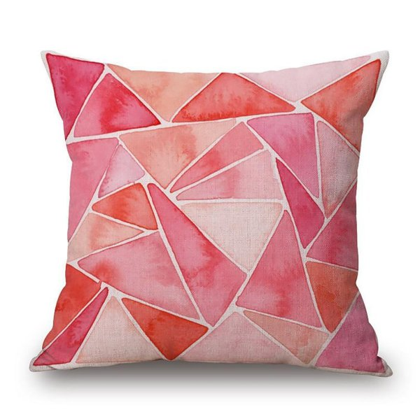 Pink watercolour geometric print pillow case // 10 Geometric Pillow Covers Under $10.