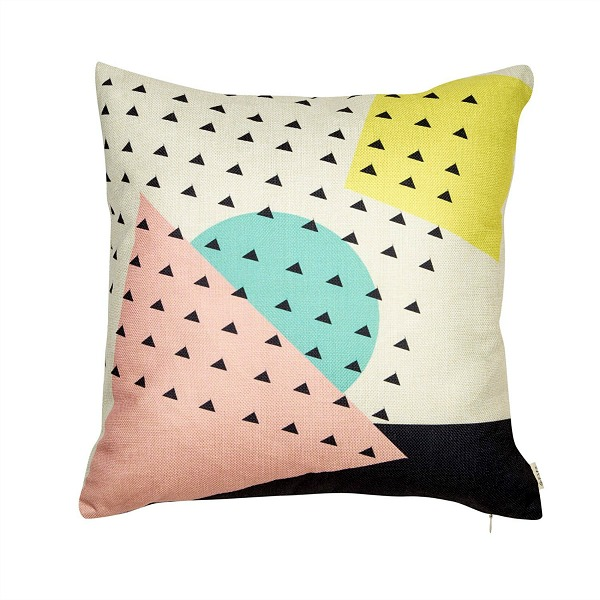 Pink, mint, yellow geometric pillow cover under $10.