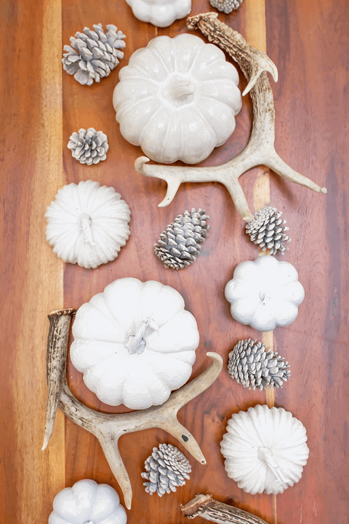 Bring the outdoors in for your fall tablescape by incorporating natural elements, such as pumpkins, pinecones, and shed antlers. Farmhouse style never looked so good!