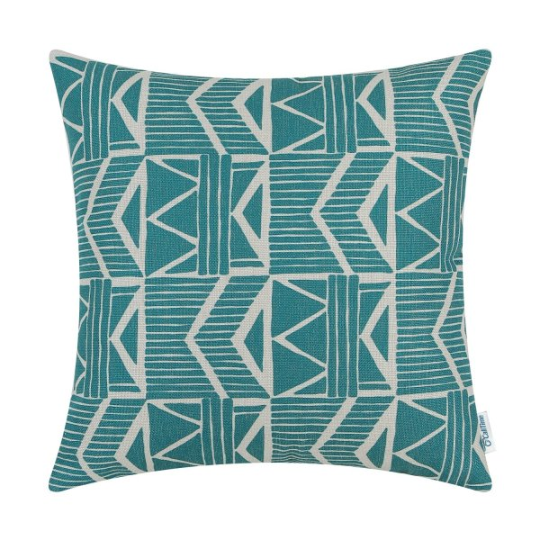 Green geometric pillow cover // 10 Geometric Pillow Covers For Under $10.