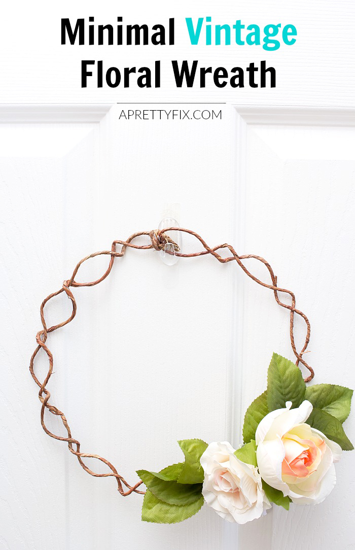 Take your front door decor up a notch with this minimal vintage floral wreath. Learn how to craft this simple DIY with just a few craft supplies on hand. (BONUS: Included in this tutorial are 2 versions of the this wreath that will up your wreath-making game!) | APRETTYFIX.COM