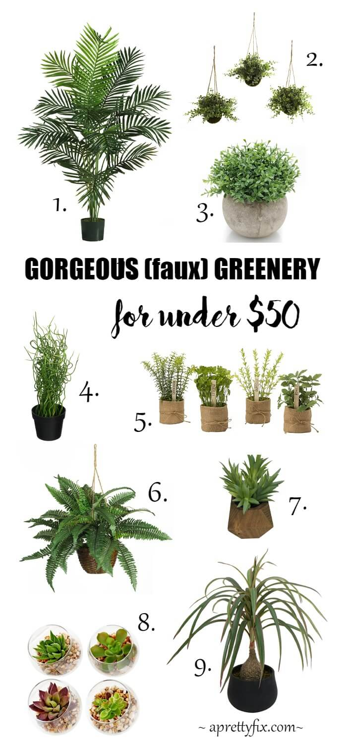 Gorgeous (faux) Greenery | Modern faux houseplant beauties from hanging baskets to potted plants - all for under $50!