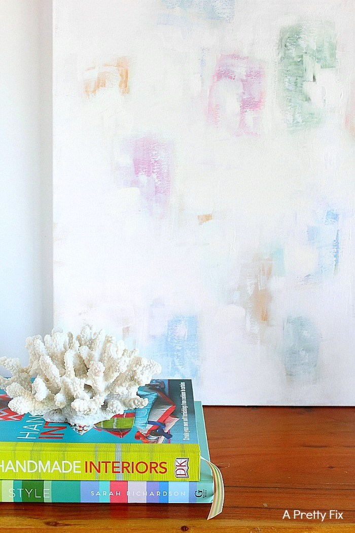 Create this coastal abstract canvast art in minutes - or buy an affordable piece online. Find both the DIY and online sources at aprettyfix.com.