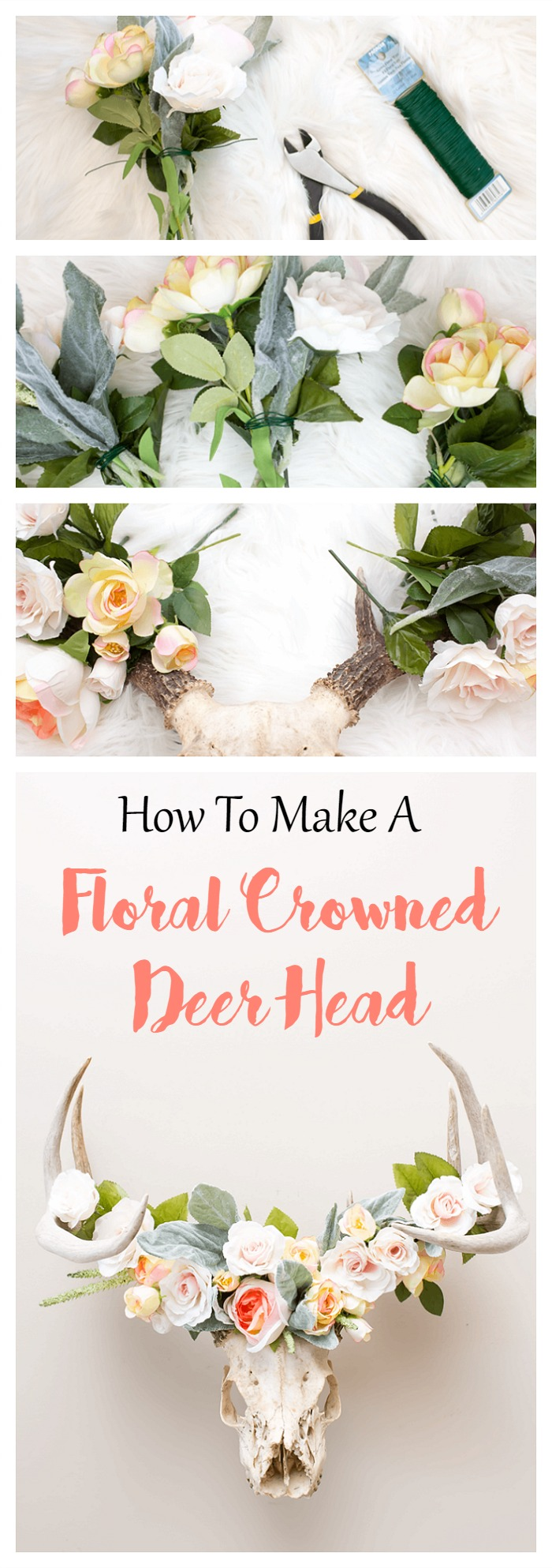 How to make a floral crowned deer head a pretty fix this diy floral crowned deer head takes just 10 minutes to create apply the same izmirmasajfo