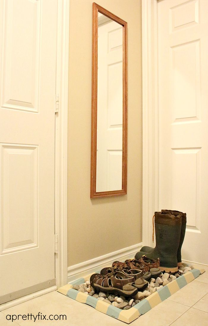 This boot tray makeover is a great way to turn a ho-hum boot tray to a stylish spot for your footwear. It's all in the details!