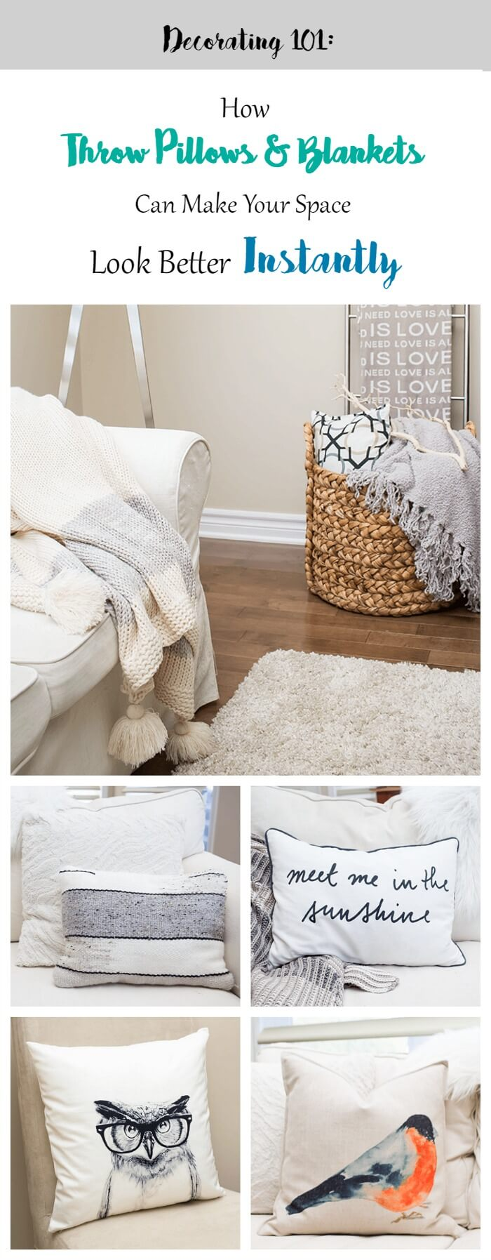Throw pillows and blankets are a simple, affordable way to add instant appeal to any space. Don't underestimate the power of these 'twin towers' in home decor to take a drab room and make it look stunning in an instant. Get your inspiration (along with a key formula in design) in this decorating series via aprettyfix.com.