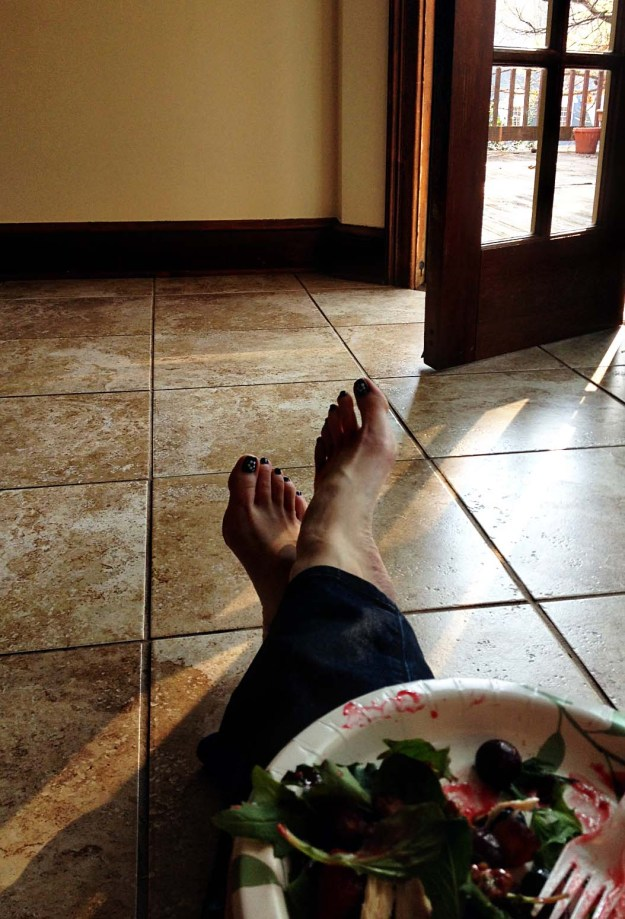 Dinner on the floor while waiting for moving truck to arrive.