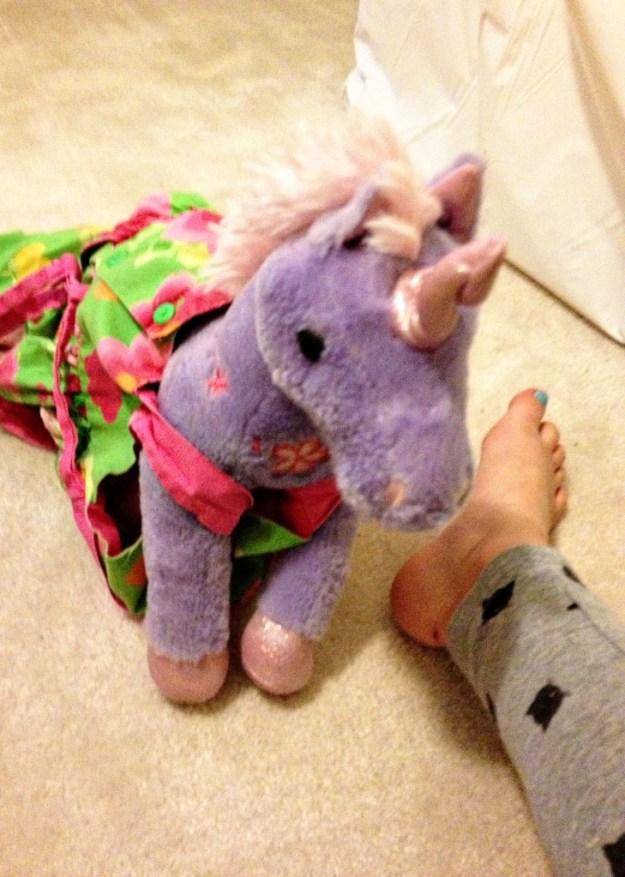 Stuffed animal in a dress.