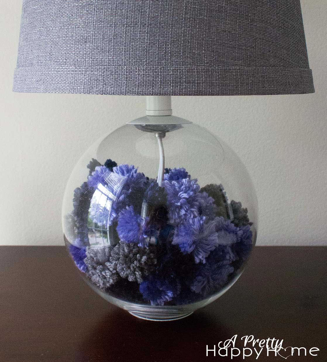 Michaels Craft Floor Lamp: Lamp Base Filled With Yarn Pom-Poms