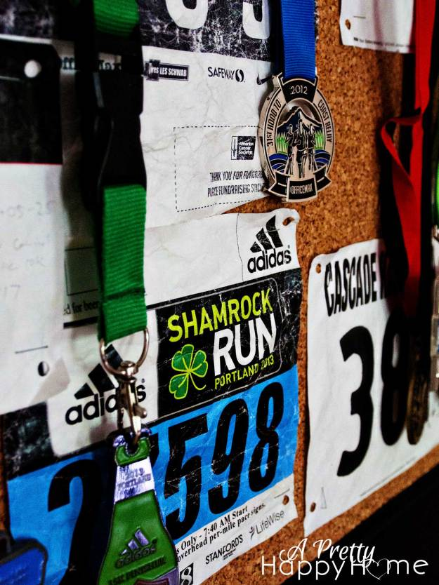 Running Bibs and Medals Display
