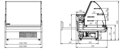 Чертеж холодильной витрины кондитерской Muza К 1.5 для хранения и демонстрации кондитерских изделий. Сделать заказ на ubc.apricot.