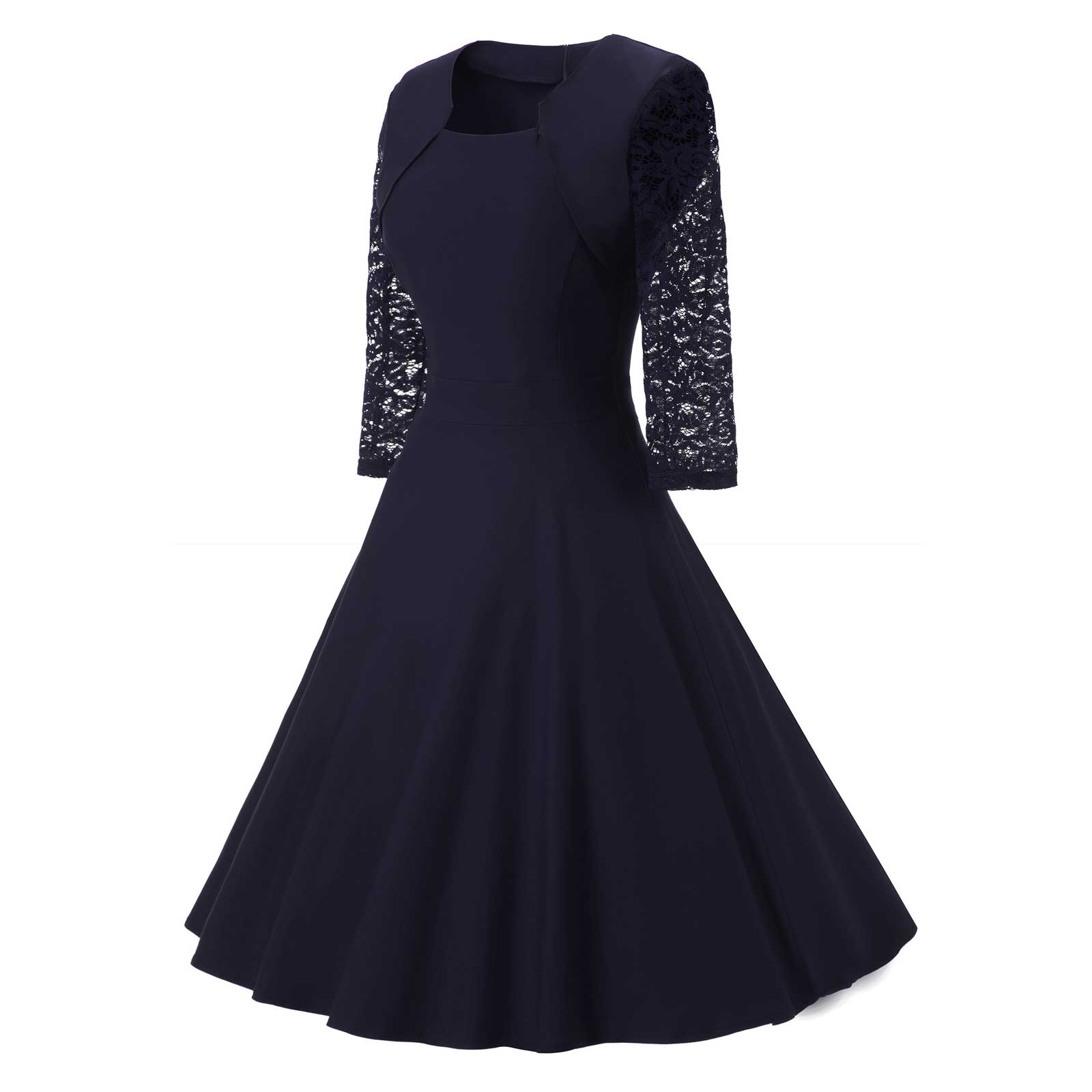 Length Lace 4 3 Navy Dress Vintage Sleeve