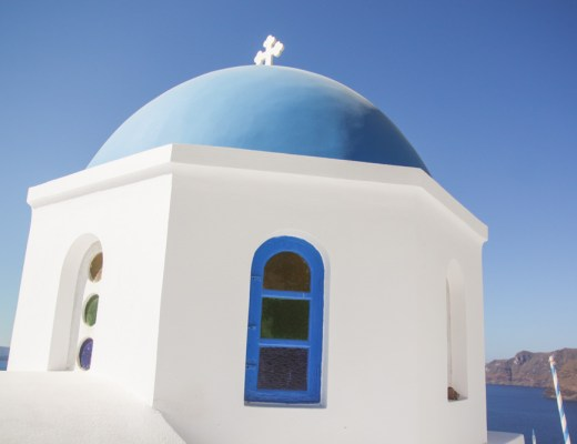 Blue Dome Church in Oia, Santorini