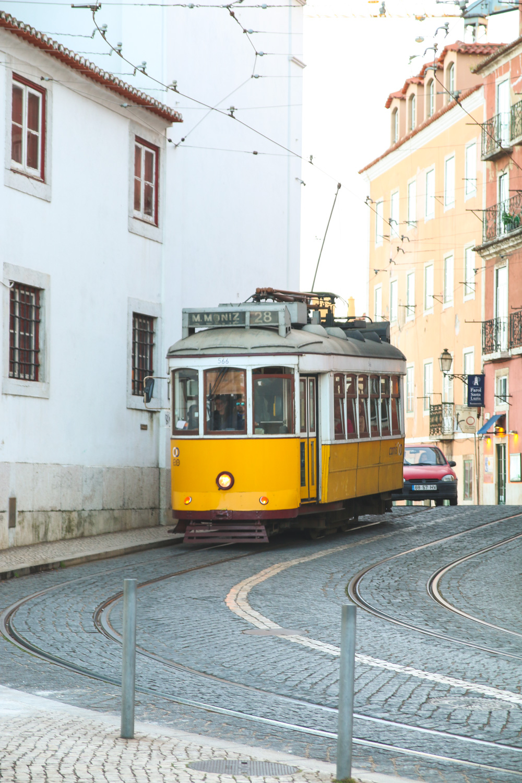Tram 28 in Alfama, Lisbon, Portugal