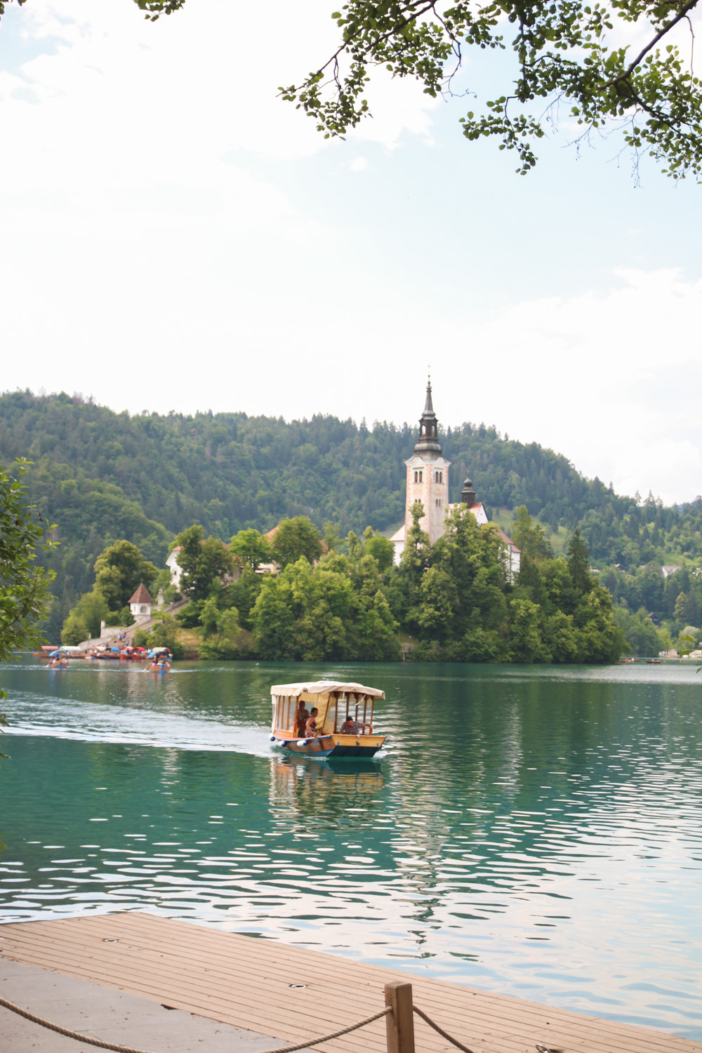 Pletna Boat and Bled Island on Lake Bled, Slovenia