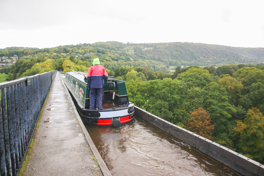 Canal Boat on Pontcysyllte Aqueduct, North Wales