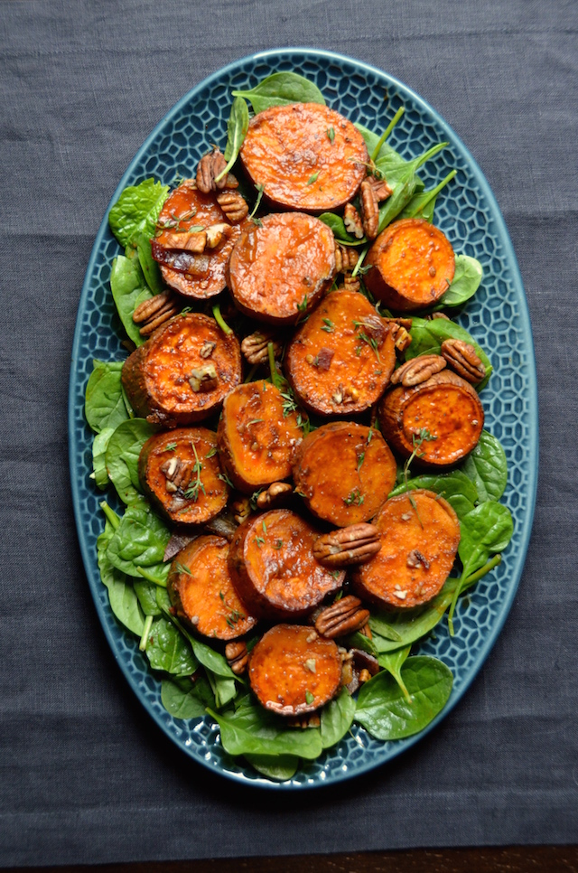 chipotle coca-cola sweet potatoes pecans bacon and spinach
