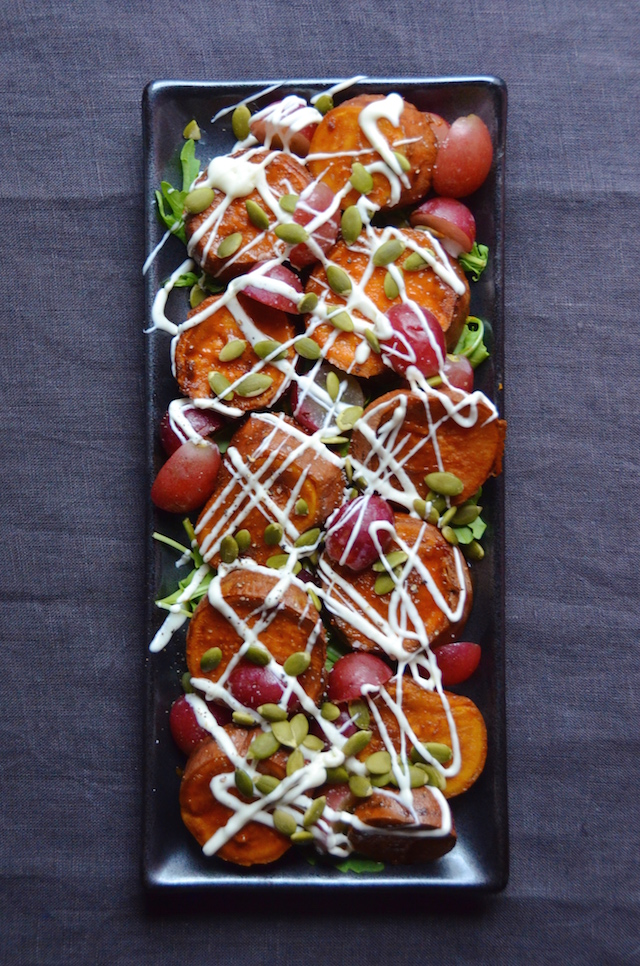 chipotle coca-cola sweet potatoes with grapes and yogurt