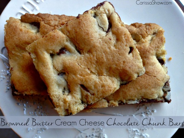 Browned Butter Crean Cheese Chocolate Chunk Bars