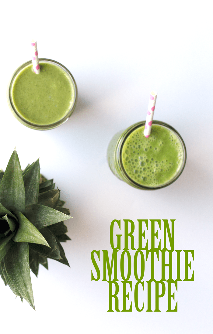 Green Smoothie Recipe - Very easy to make to get healthy and start your day with fruits and vegetables from April Golightly