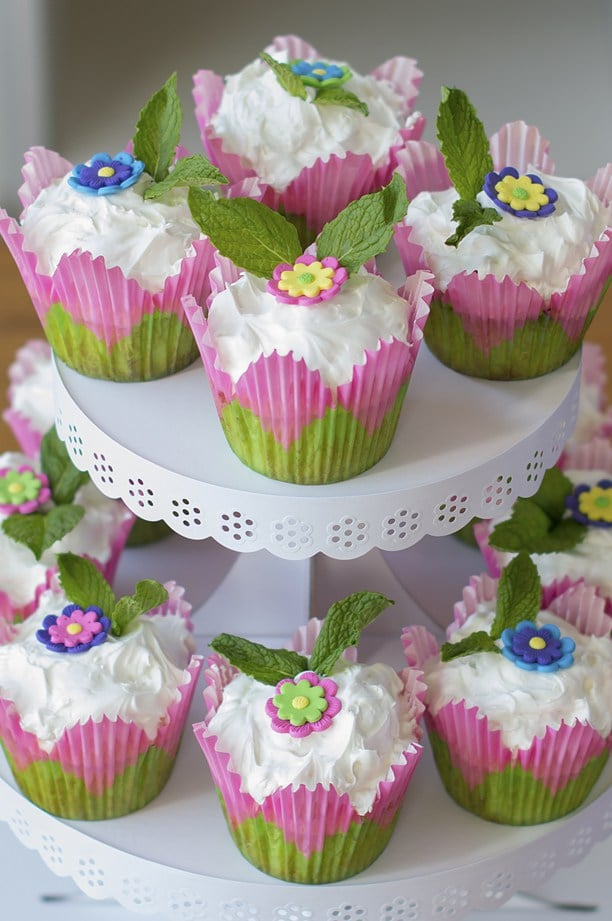 Coconut Surprise Key Lime Cupcakes Recipe for spring with flowers on top