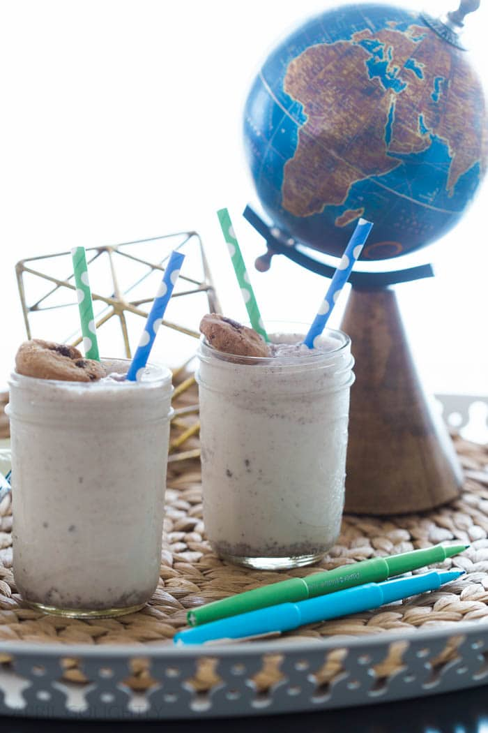 Cookies and Milk Smoothie made with Famous Amos Cookies for Back to School treat and dessert snack food