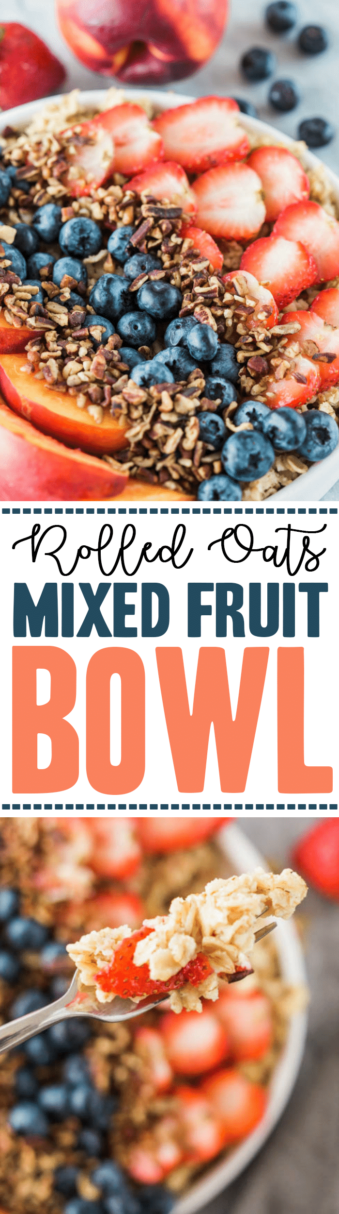 gluten free Rolled Oats Fruit and Nut Bowl - low carb breakfast bowl recipe with strawberries, blueberries, walnuts, and nectarines