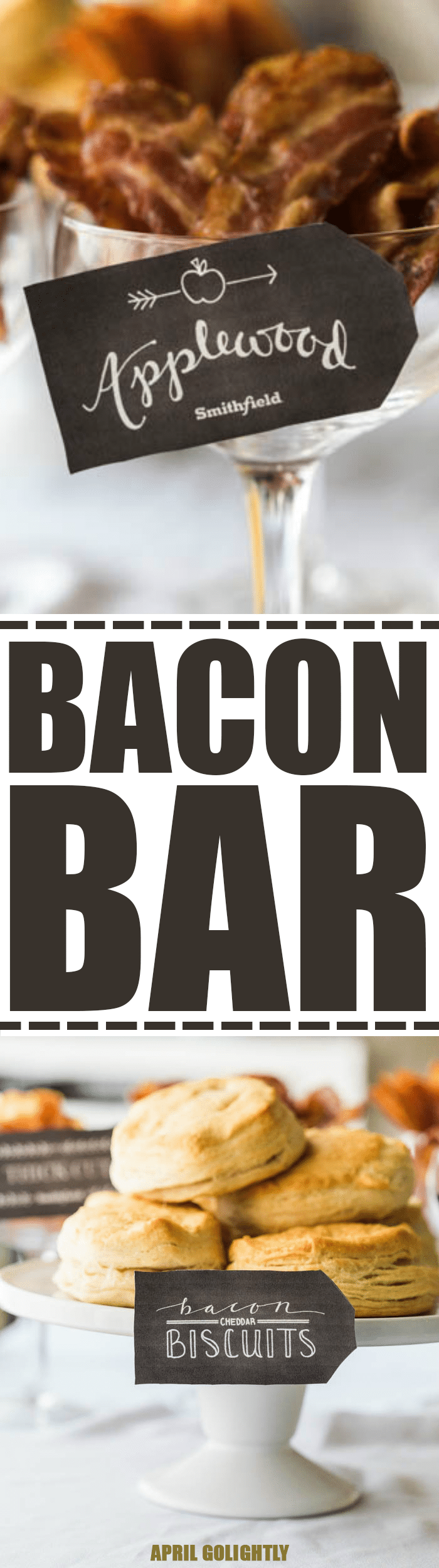 Entertain with a Bacon Bar with Bacon Cheddar Biscuits, Sea Salt Caramel, and different bacons being served with Orange Juice