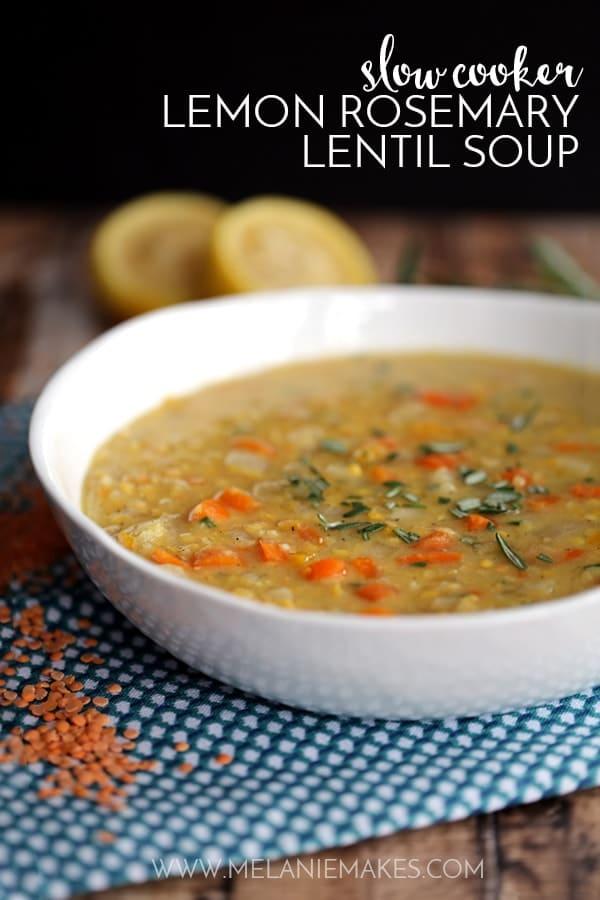 Slow Cooker Lemon Rosemary Lentil Soup
