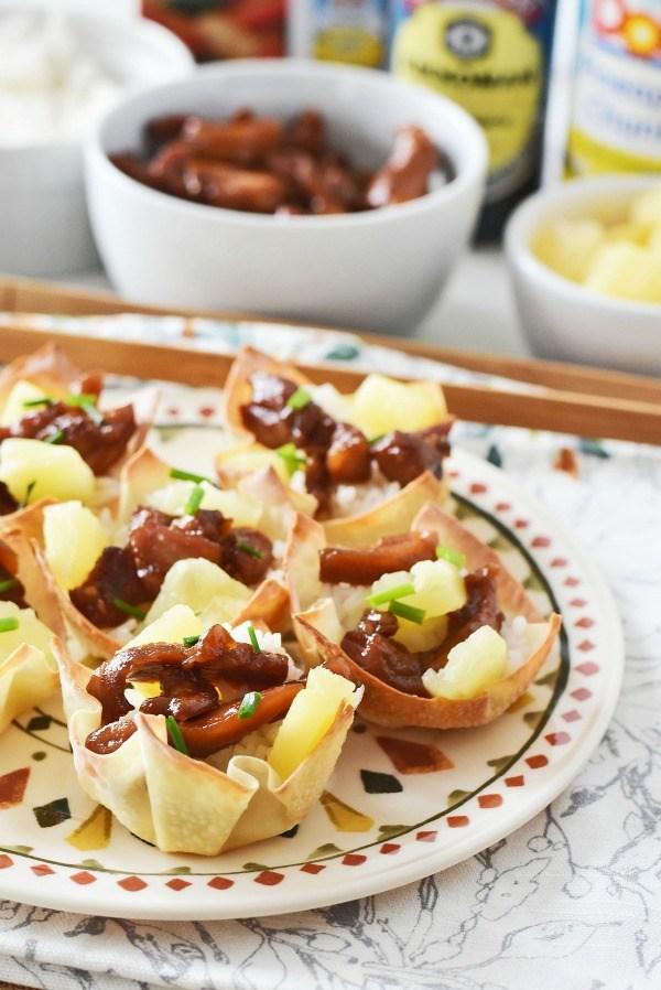 Teriyaki Chicken, Rice & Pineapple Wontons Recipe