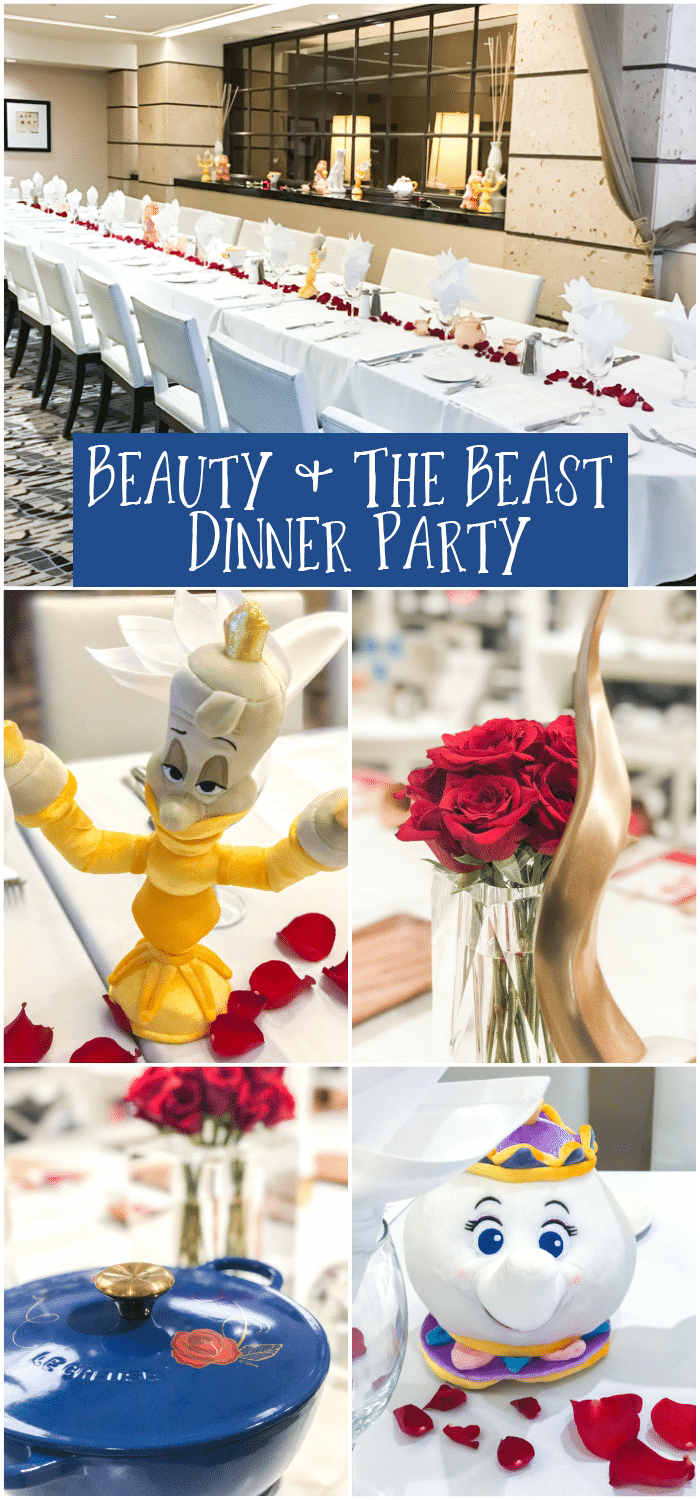 Beauty and the Beast Dinner Party with meal planning for appetizers, drinks, main course with tablescape table setting and decor from Williams Sonoma