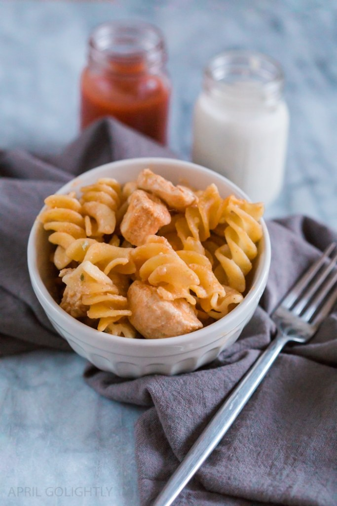 Cheesy Buffalo Chicken Bake made with 4 Ingredients
