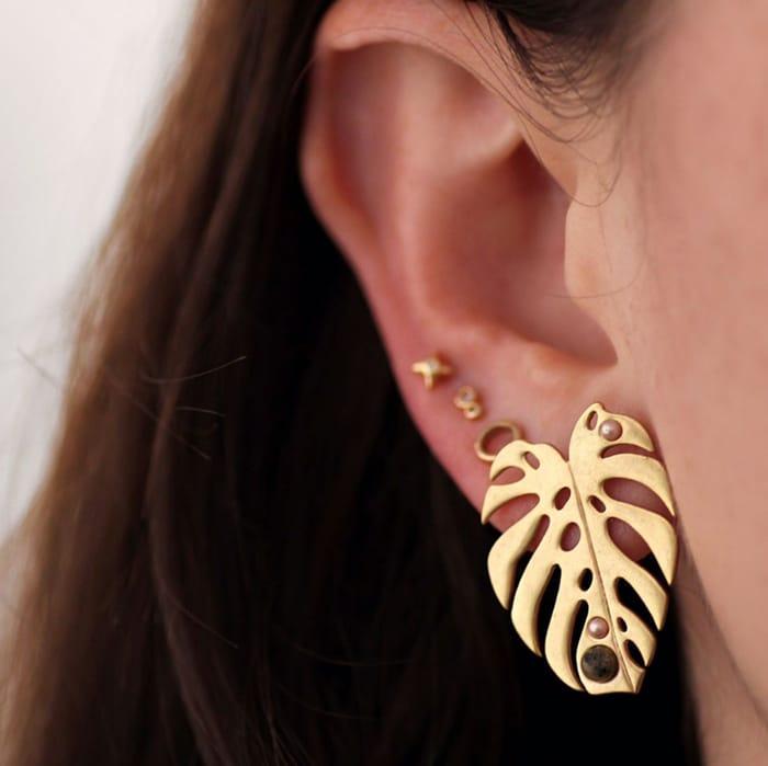 Lulu Frost Gold Leaf Earrings