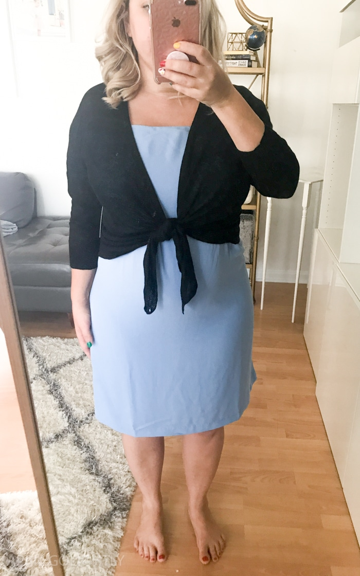 Trunk Club Review with off the shoulder dress and cardigan