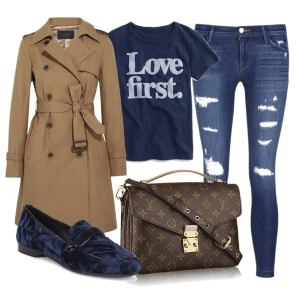 A fun Winter Trench Coat Outfit with distressed denim and velvet loafer with a graphic tee -simple easy casual style for the fall and winter seasons